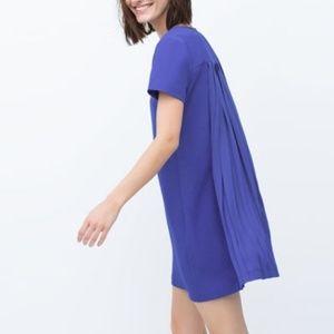 Zara basic cobalt blue back pleated shift dress S